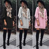 New Women Long Sleeve Loose Sweatshirt Tops Ladies Tunic Baggy Jumper Mini Dress