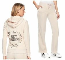 NWT Juicy Couture Embellished Velour Tracksuit Bootcut Pants Women Cream size M
