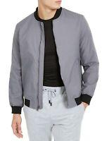 Alfani Mens Bomber Jacket Boulder Gray Size XL Full-Zip Pinstripe $139 217