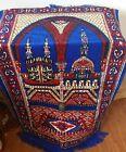 VTG vibrant red blue fringed tapestry wall hanging? rug? Israel Jerusalem 26x25