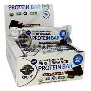 Garden of Life Sport Performance Protein Bar Chocolate Fudge Organic 12 Bars New