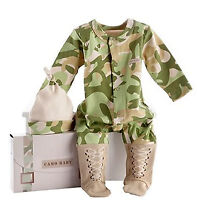 Boy Baby Army Military Pilot Party Cotton Camouflage Camo Romper Bodysuit + hat