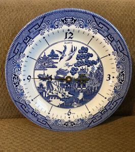 "Churchill England Royal Blue Willow Plate Wall Clock 10"" Quartz Original Box"