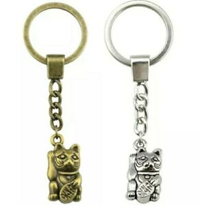 Cat Keyring Gift Lucky Chinese Cat Lover Keychain Fob Key Ring Silver Bronze