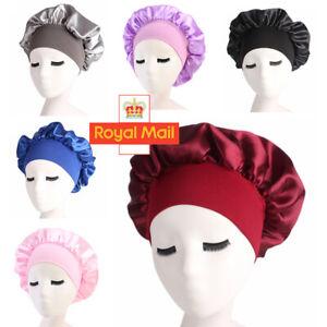 Adjust Women Satin Bonnet Cap Night Sleep Hair Head Cover Silk Feel Elastic Hat