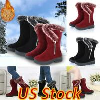 US Women Faux Suede Mid Calf Winter Snow Boots Comfy Zipper Fur Lined Warm Shoes