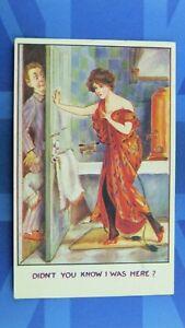 Saucy Fred Spurgin ? Comic Postcard 1910s Lady In Bath Room Undressing Door Lock