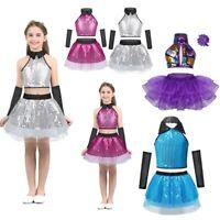 Kid Girls Jazz Waltz Modern Dance Costume Outfit Sequins Crop Top Tutu Dress Set