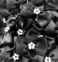 Pack of 10 - BLACK 3.5cm Satin Ready Made Mini Ribbon and Pearl Craft Bows