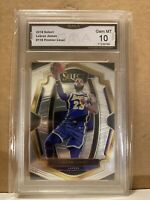 2018 Select Lebron James Premier Level Graded Gem Mint 10 GMA. 1st Lakers Card
