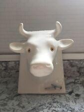New ListingVintage White Ceramic Cow Bull Head Towel Apron Holder Wall Hook