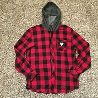 Disney Mickey Mouse Mens Large Black/Red Hooded Flannel Shirt/jacket NWOT