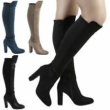 Lola Womens Mid High Heels Stretch Knee High Boots Ladies Shoes Style Block Size