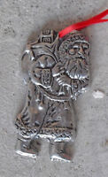 "COOL Vintage Aluminum Santa Claus Christmas Ornament  3"" Tall"