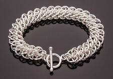 GSG Chain Maille Bracelet .925 Sterling Silver 8 Inch Handcrafted Chainmail iDu