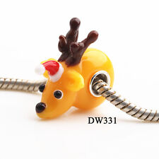 1pcs SILVER MURANO GLASS BEAD LAMPWORK Animal Fit European Charm Bracelet DW331