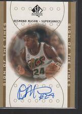 DESMOND MASON 2000-01 SP AUTHENTIC SIGN OF THE TIMES ROOKIE AUTO CARD #DE