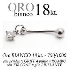 Piercing ombelico belly ORO BIANCO 18kt.pendente GRIFF 4 punte zircone BRILLANTE