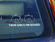 Static Cling Window Car Sign/Decal Twins on Board 100 x 200mm Girls