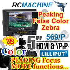 "Lilliput 5"" 569/P Peaking Focus assist HDMI Monitor Canon 5D2+F970, DU21 adapter"