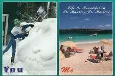 Life in St. Martin, Maarten, West Indies,You Snow Me Beach,Shovel That, Postcard