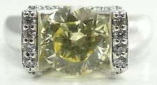 Sterling Silver Cubic Zirconia Ring Pale Yellow Clear Round Cut Cradle Set Sz 9