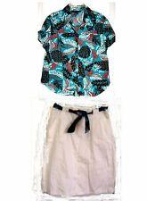 Mirror Image White Skirt w/Leaf Print Belt & Top Sz 1X Top/L Ski