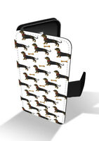 Dachshund Cute Sausage Dog Pattern Collage Wallet Leather Phone Case
