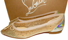Christian Louboutin Patio Crystal Mesh Red Sole Ballet Flats Ballerina Shoes 38