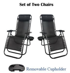 2x Zero Gravity Chair Foldable Reclining Sun Lounger with Removable Cup Holder