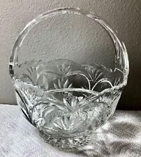 VTG  Cut Clear Full Lead Crystal Basket Handle made in Poland