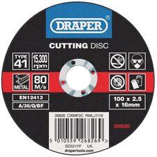 Genuino Draper Plano Discos de Corte para Metal (100 X 2,5 X 16mm) 26826