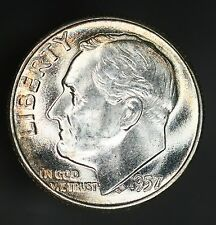 1957-P Roosevelt Dime Problem Free Beauty With Some Colorful Toning! GC641