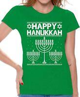 Happy Hanukkah Women's T-shirt Ugly Christmas Shirts Funny Xmas Gifts