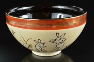 #8182: Japanese Kiyomizu-ware Rabbit Flower pattern TEA BOWL Tenmoku chawan