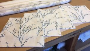 TWO  HANDMADE CUSHION COVERS IN LAURA ASHLEY PUSSY WILLOW  OFFWHITE/SEASPRAY