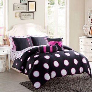 Twin Full Bed Bag Black Pink Polka Dot Ribbons Bows 10 pc Comforter Sheet Set