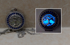 TREE OF LIFE GLOW in the DARK Blue Crystal Photo Locket Pendant Charm Necklace