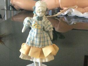 Antique Bonnet Head cloth body dollhouse doll  small size 11 cm ca1900s +