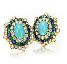 2.22ct NATURAL  DIAMOND TURQUOISE EMERALD SAPPHIRE 14k YELLOW GOLD STUD EARRING