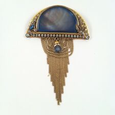 Vintage Marena Hand Made in Germany Abalone Brooch/Pendant in 18k Gold Overlay