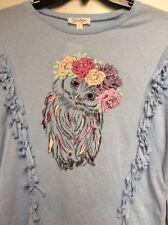$44.50 Jessica Simpson graphic Owl Fringed Sweater Girls size large bx 3