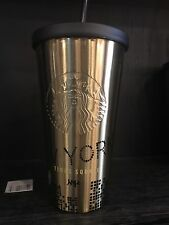 Starbucks Cold Drink NYC Times Square Tumbler Gold Color 16 oz