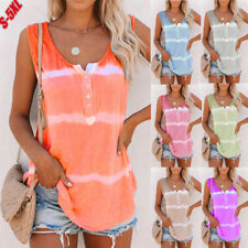 Womens Summer Tie-dye Sleeveless Tank Tops Loose Button T Shirt Blouse Plus Size