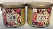 Bath & Body Work * GATHER* (MARSHMALLOW FIRESIDE) 14.5 oz 3 wick candle NEW. X2
