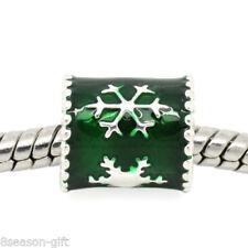 1PCs European Charm Spacer Beads Green Snowflake For Bracelet Christmas GIFT