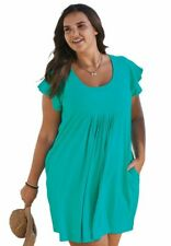 Swim365 Beach Swimsuit Coverup OVERSIZED House Summer Dress NWT TURQUOISE 26 28