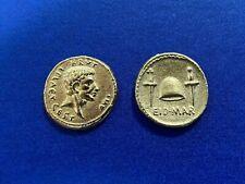 JULIUS CAESAR IDES OF MARCH GOLD AUREUS MODERN COIN ORIGINALLY MINTED 43/42 BC
