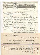Vintage Billhead & Letterhead CIVIL ENGINEER  EF BOWKER Cambridgeport MA 1889