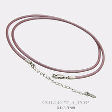 "Authentic Kameleon Sterling Silver Lavender Leather Necklace 18""  KLCFP18"